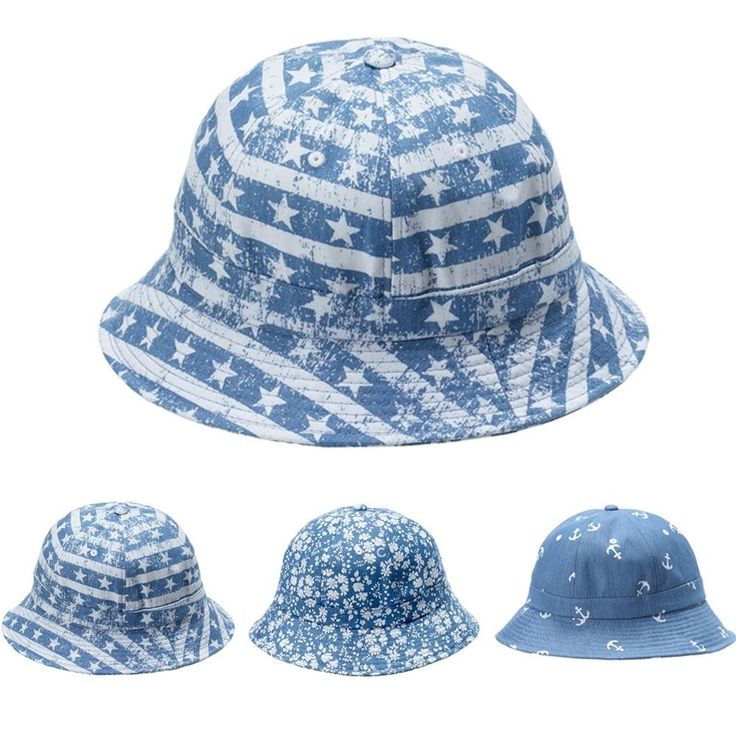 Bucket Hats Men Hat for Women Denim Caps with Star Floral Anchor Print Vintage #RedPlanetRepublic #Bucket