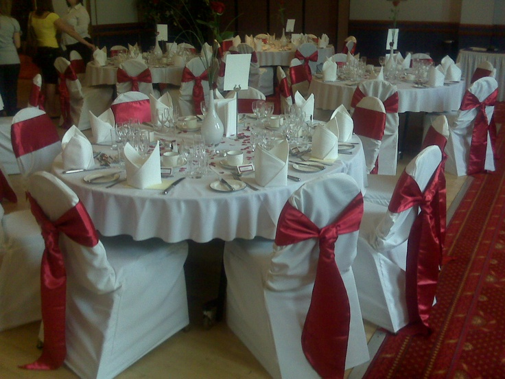 Red Satin Cravats on White Chair Covers