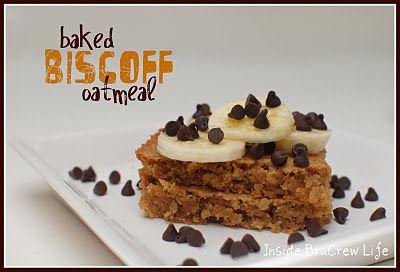 Baked Biscoff Oatmeal: Baking Biscoff, Chocolates Chips, Bananas Slices, Baking Oatmeal, Baking Recipes, Secret Recipes, Biscoff Oatmeal, Breakfast Recipes, Breakfast Brunch