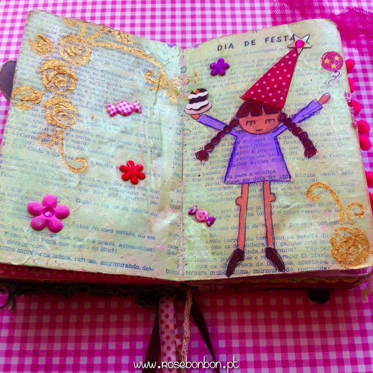 Art-journal page Party Day! Mixed media on paper. Made with Love by Rosebonbon