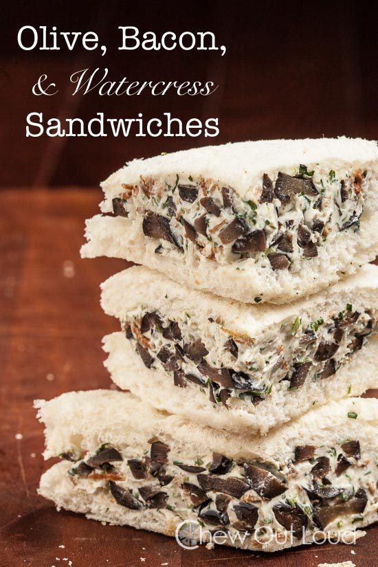 Olive, Bacon, and Watercress Sandwiches - Perfect finger food for all those summer gatherings. ~Melisa