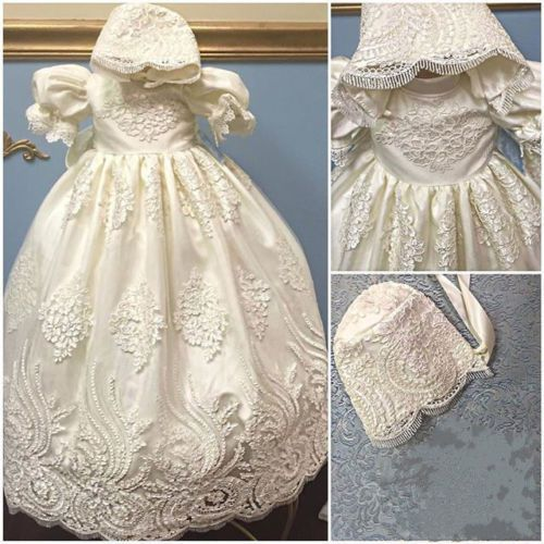 >> Click to Buy << 2016 Satin Puff Sleeves lace blessing dress for baby girl and boys christening gown robe baptism With Bonnet #Affiliate