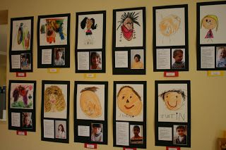 Good idea for a self portrait display- take kids pics to go with their self portrait