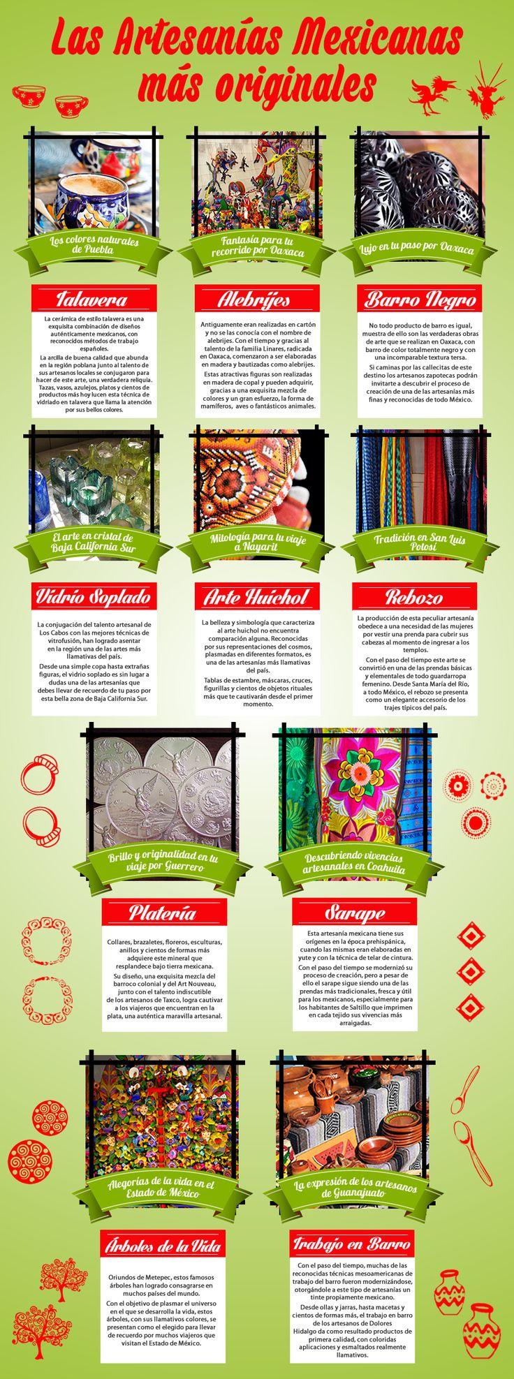 Una mezcla perfecta de colores, lujo, tradición, mitología, formas de expresión. Las #artesanias #mexicanas nos invitan a llevar de recuerdo un pedacito de cada rincón de #México, a casa.  #Infografia http://www.bestday.com.mx/Paquetes/
