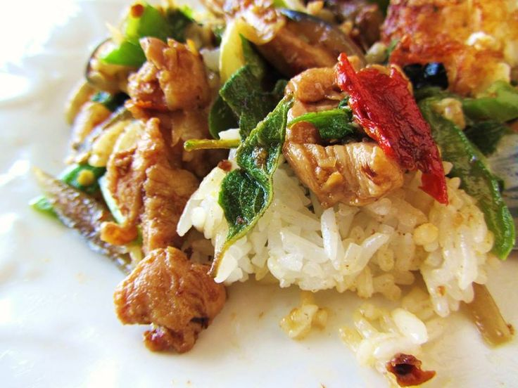 Pad Krapow Gai is stir-fried chicken with basil leaves and a fried egg on rice (can be with pork or beef). It's a delicious classics dish you should try while travelling Phuket!