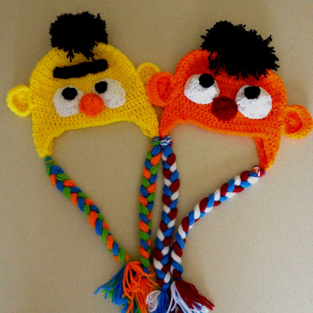 Bert & Ernie crochet hats, no pattern just a picture, but great inspiration