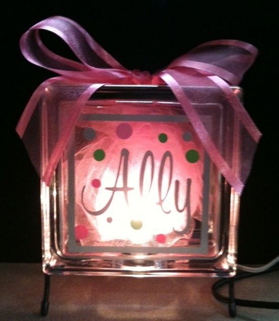 DIY Glass block nite light... Great for a baby shower gift.