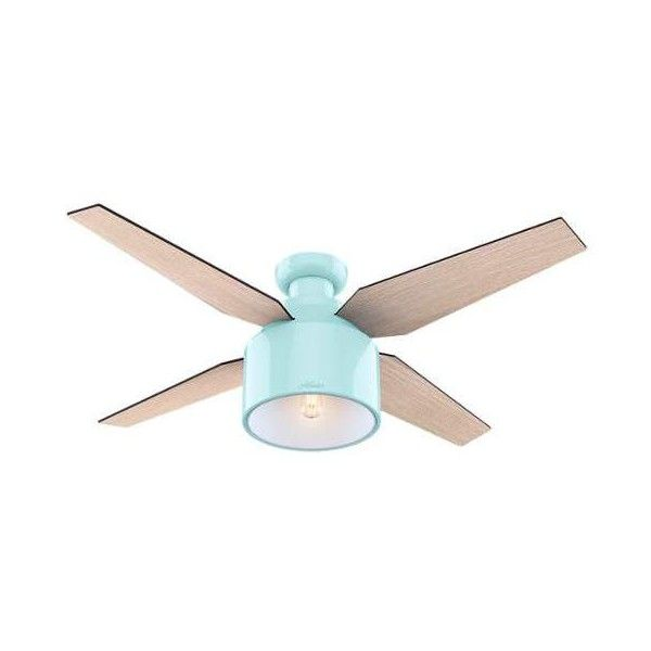 """Hunter Cranbrook 52 Low Profile 52"""" Ceiling Fan - 4 Reversible ($219) ❤ liked on Polyvore featuring home, home decor, fans, ceiling fans, indoor ceiling fans, mint, low ceiling fans, remote control ceiling fans, low profile ceiling fan and low profile fan"""