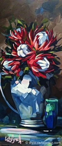 Proteas by Carla Bosch - Take a fine arts workshop this summer at CMA in the Blue Ridge Mountains! http://www.cullowheemountainarts.org/2015-calendar#sthash.Y3yG2phL.dpbs