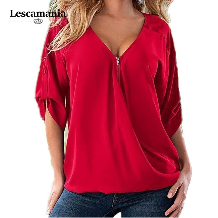 Lescamania Fashion Women Blouses Sexy V Neck ZIpper Half Sleeve Shirt Women Plus Size 5XL Blouse Casual Loose Blusas Women Tops