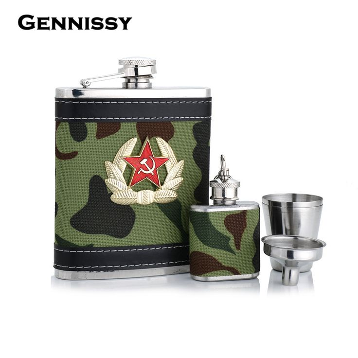 GENNISSY Germany 304 Stainless Steel 7oz Hip Flasks Mini Green Striped Cloth Portable Pocket Flask High Quality Traveling Flasks