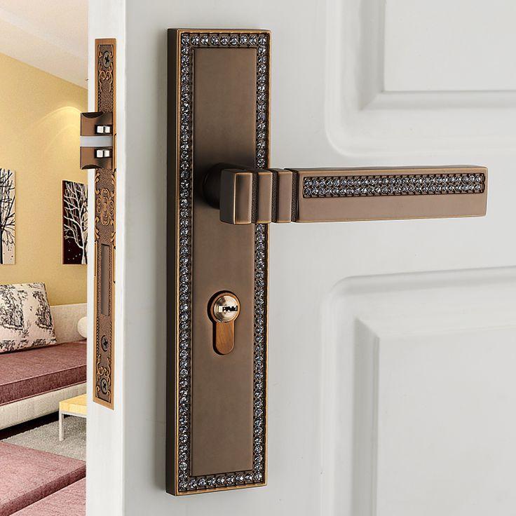 Euro antique  luxury  Diamond archaize bed room handle lock  antique brass crystal wood door lock  2 latchs indoor handle  lock