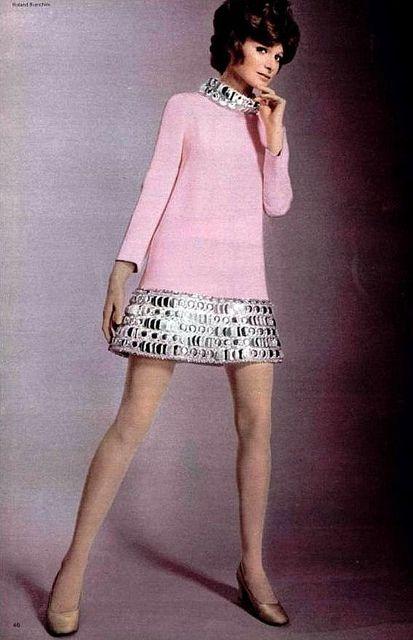 Pierre Cardin's pink silk-crèpe mini-dress with puffed metallic trim around the hem and collar, L'Officiel, 1969