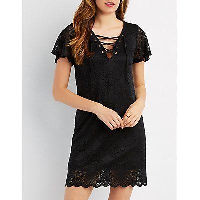 Black Lace Lace-Up Shift Dress - Size M