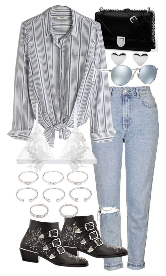 """""""Untitled #19696"""" by florencia95 ❤ liked on Polyvore featuring Topshop, Madewell, Ray-Ban, Chloé, For Love & Lemons and Forever 21"""