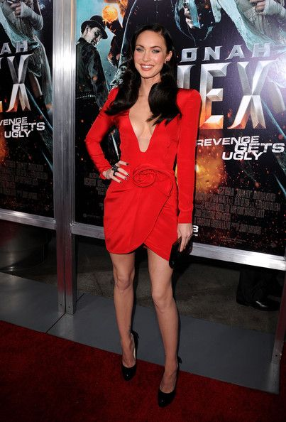 Megan Fox, red plunging neckline dress