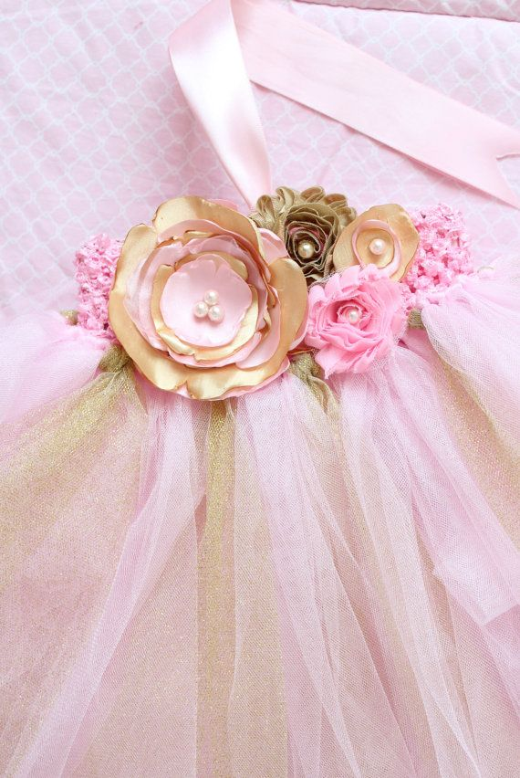 Gorgeous Beautiful Light Pink and Gold Satin by AverysCoutureLook