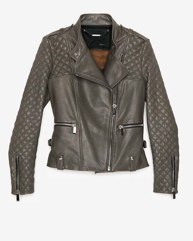 THE BEST LEATHER JACKETS: Barbara Bui Quilted Sleeve Leather Jacket