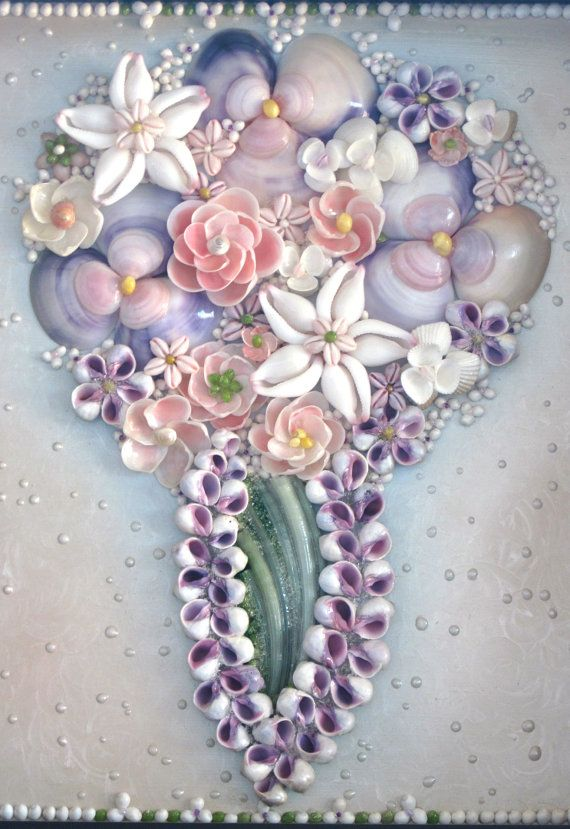 Beach Bouquet Shadow Box by Shellestial on Etsy
