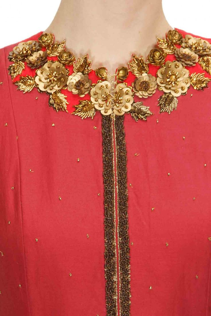 Pinkish red floral embellished anarkali with gold brooch embroidered dupatta available only at Pernia's Pop-Up Shop.