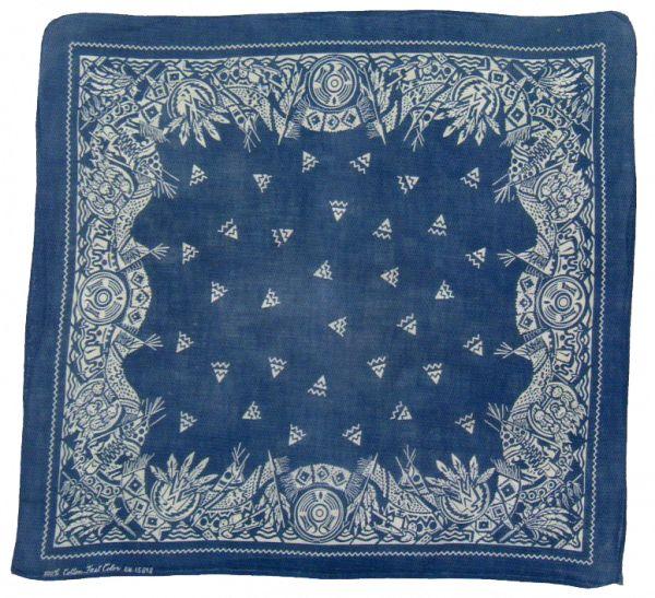 vintage blue bandana with Native American motifs                                                                                                                                                     More