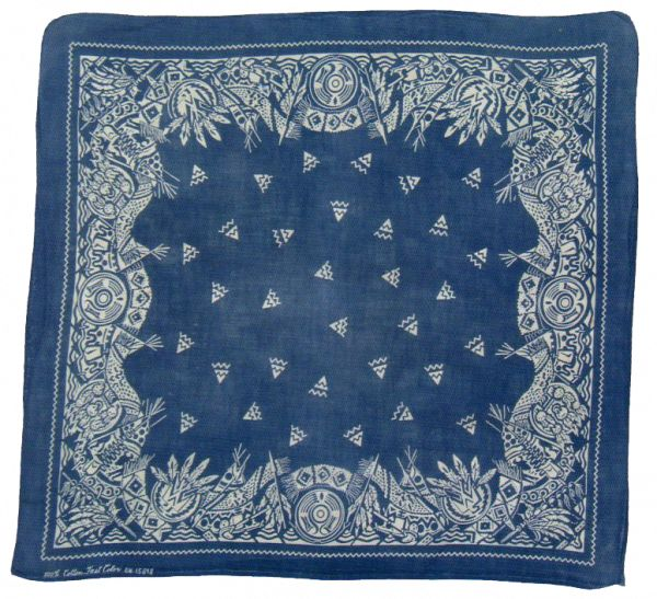 vintage blue bandana with Native American motifs