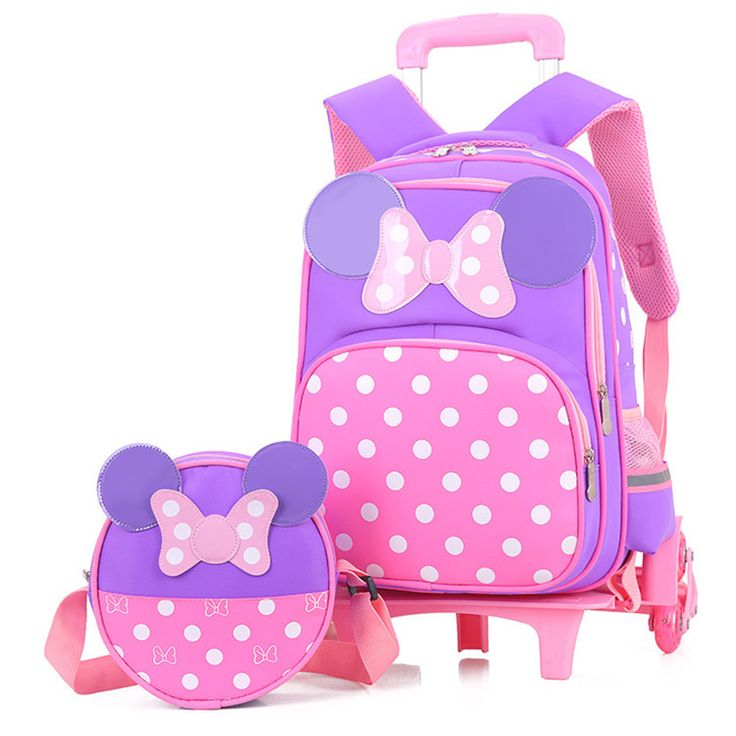 Girls Bow Trolley School Bags Cartoon Transformer Trolley School Bag Children Transformer Rolling Backpack for Kids Schoolbags