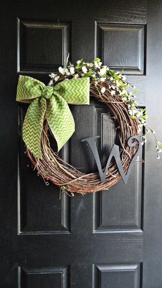 NEW - Rustic Cherry Blossom Flowers and Green Chevron Burlap Bow With Black Monogram Wreath for Wedding, Housewarming Gift, Summer Wreath
