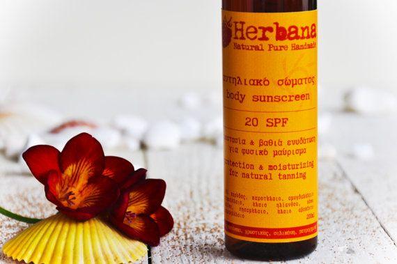 Natural Sunscreen 20 & 30 SPF, Body Sunscreen Lotion, Sunblock Lotion, Organic Sunblock, Summer Care, Body Care, by Herbana Cosmetics  Body
