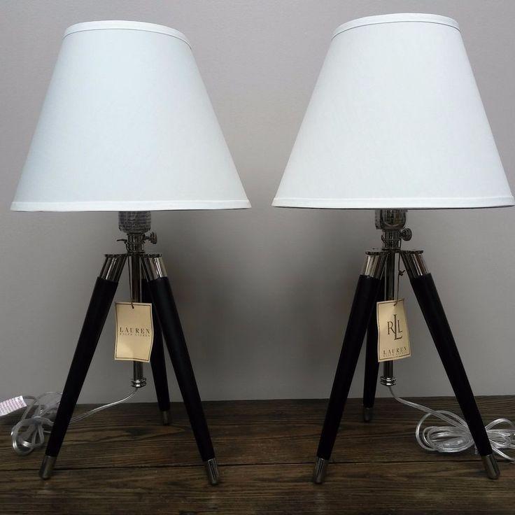 New Ralph Lauren 2 Tripod Table Lamps Linen Shade Black