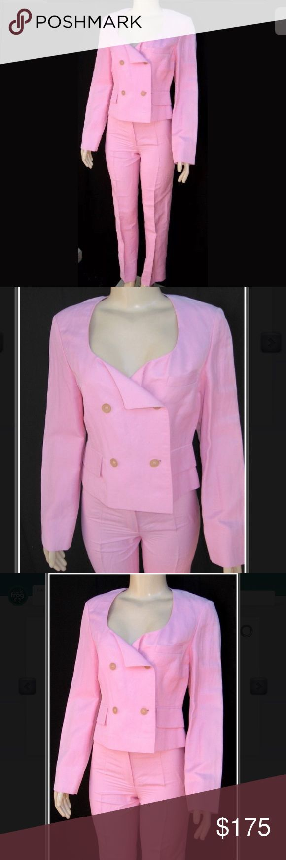 Jil Sander Pink Linen Suit Set JIL SANDER Pant Suit Outfit 4/38 jacket is 4 US / 38 EU and pant is 2 US / 36 EU  70% Linen and 30% Nylon  4 button double breasted front.  17 in across the shoulders  35 in across the chest  32 in across the waist. Total length is 21 in  Sleeves are 25 in  Waist: 27  Hips: 38 in  Inseam is 31 in 42 in total length from waist to bottom Comes w/ bag w/ extra button.  faded area along the shoulder seams, see pic. This suit is bnwt with defect. This suit retails…