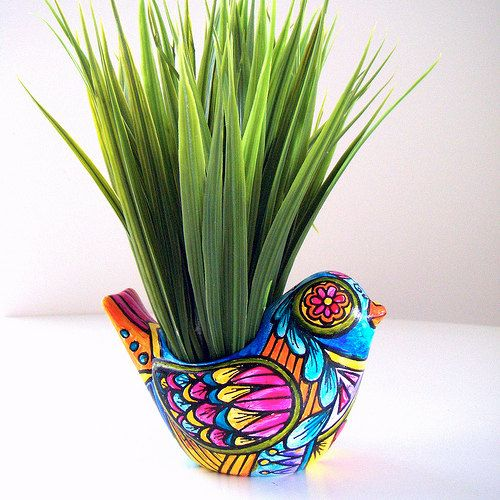 Ceramic Bird Planter Folk Art Day of the Dead Home Decor Vase Painted Tattoo turquoise orange pink yellow - MADE TO ORDER. $40,00, via Etsy.