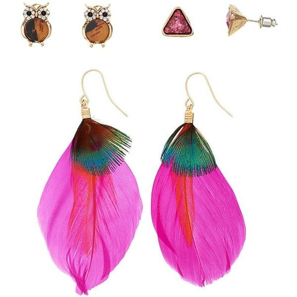 Mudd triangle owl feather stud drop earring set pink for Owl fish clothing