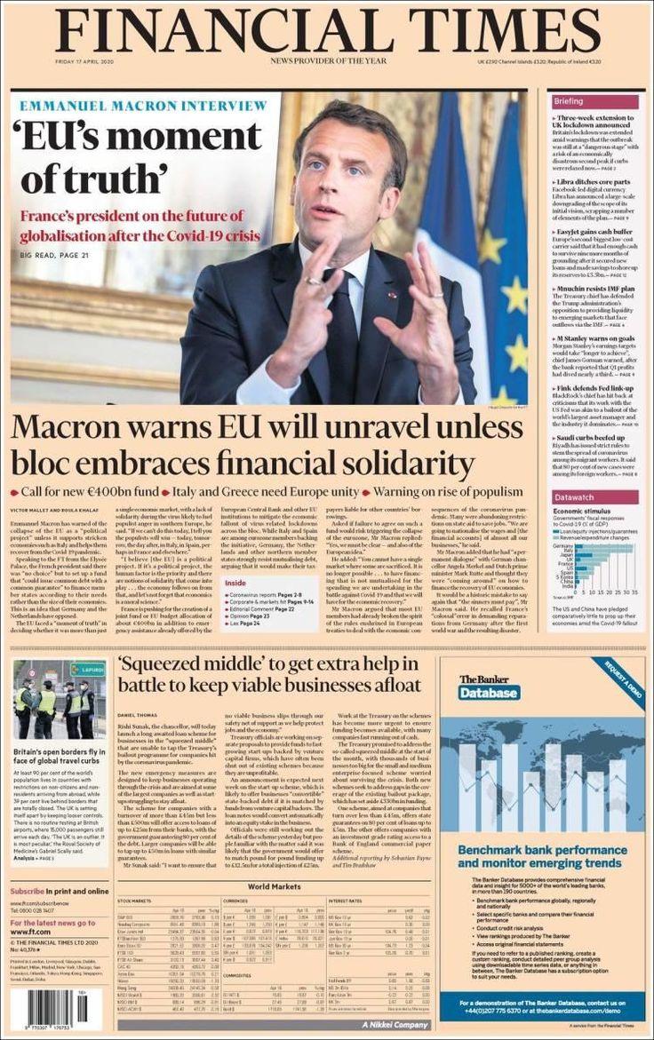FINANCIAL TIMES LONDRES Publié le 17/04/2020 Économie