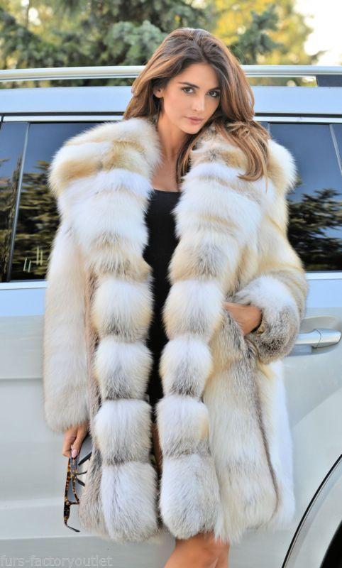 2016 golden island FOX long manteau de fourrure capuche clas chinchilla sable mink lynx argent