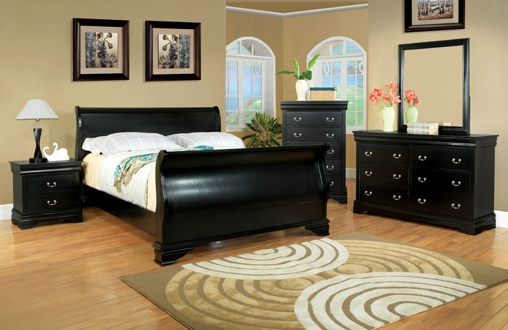 Sirius Transitional Sleigh Bed (Black, Cherry & Espresso)