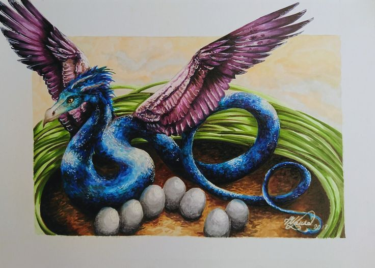 Mother Occamy and her Nest. Copic Markers on Marker Paper.  21cm x 15cm  #occamy #fantasticbeasts #art