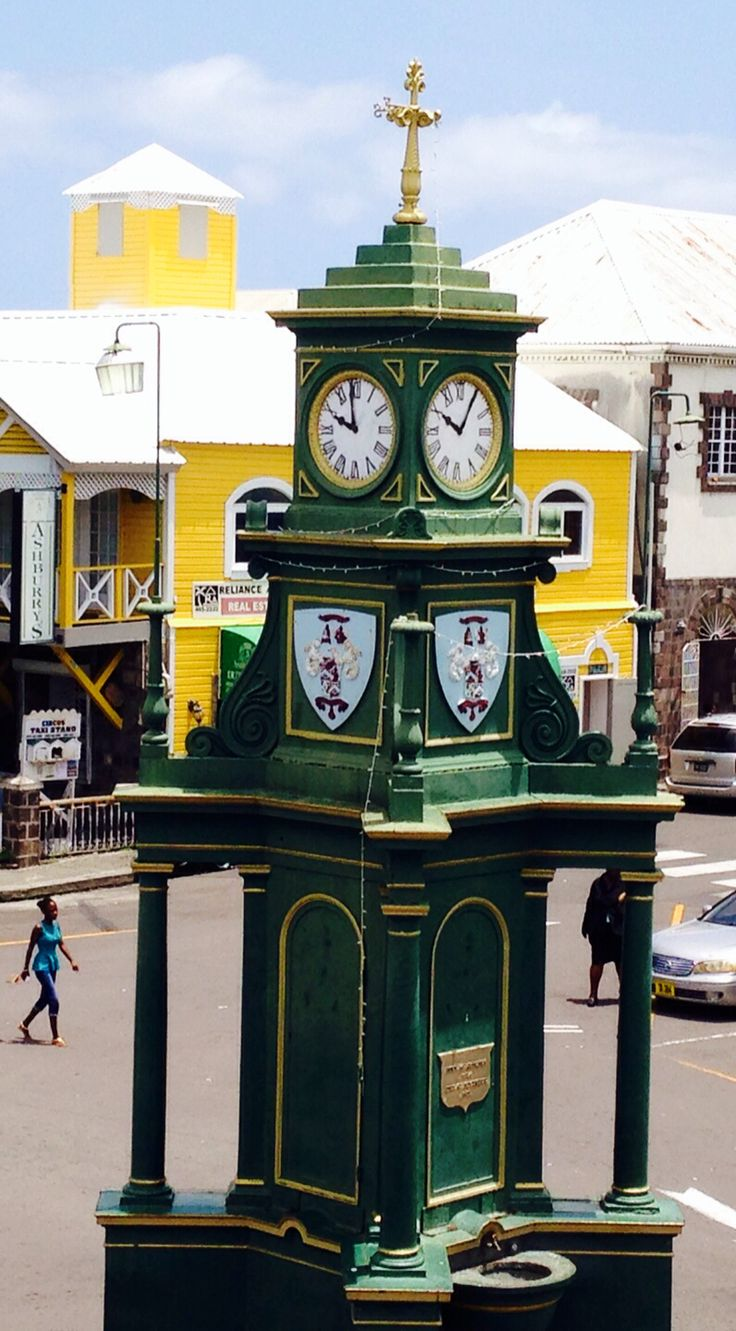 English clock tower in centre of Basseterre, capital of St Kitts in the Caribbean