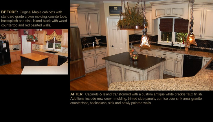 crackle paint on kitchen cabinets from maple cabinets to a custom antique white crackle faux 14167