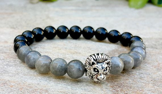 Check out this item in my Etsy shop https://www.etsy.com/uk/listing/462480203/mens-lion-bracelet-labradorite-black
