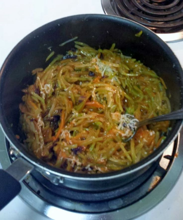 """Broccoli Slaw """"Pasta"""" Healthy and simple recipe! I can do numerous things with this pasta, use chicken broth, etc"""
