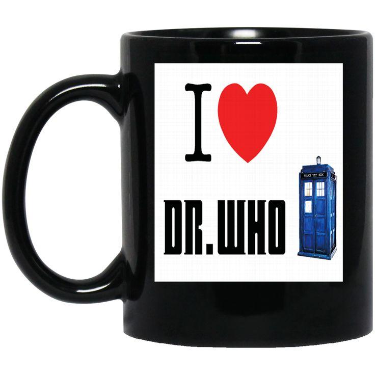 A I HEART LOVE DOCTOR WHO TARDIS TIME LORD DAVID TENNANT BILLIE PIPER BBC SCI FI MENS PREMIUM BM11OZ 11 oz. Black Mug