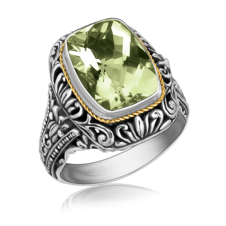 18K Yellow Gold and Sterling Silver Filigree and Green Amethyst Statement Ring