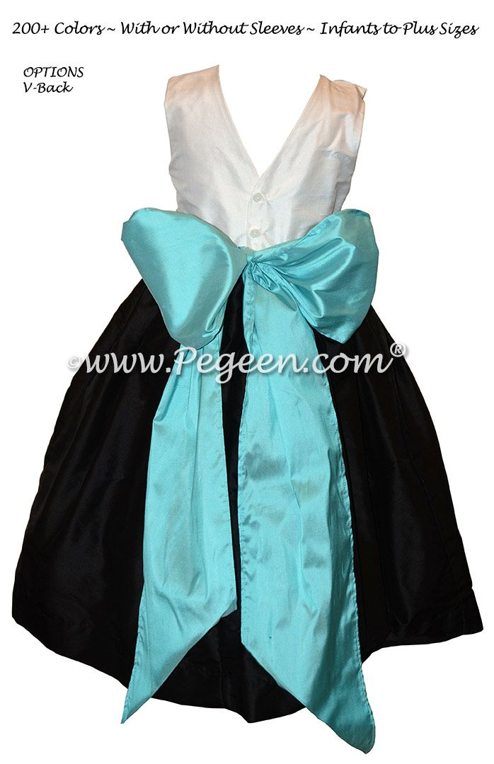 Black and turquoise flower girl dresses