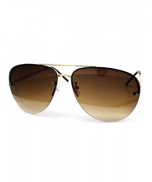 a317189818a 3111 Tint Lenz Teardrop Rimless Metal Frame Womens Mens Aviator Sunglasses  - Rimless - CG17YRGTYHZ -