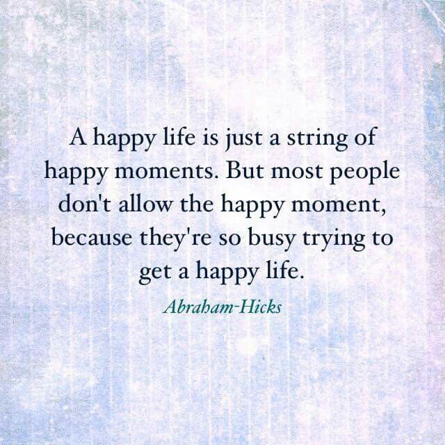 A happy life is just a string of happy moments. But most people don't allow the happy moment because they're so busy trying to get a happy life.
