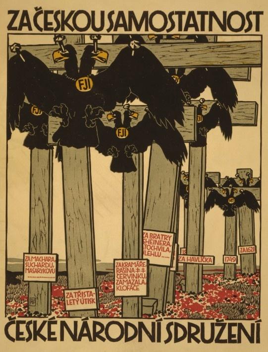 Czech World War I Propaganda Poster featuring crucified birds