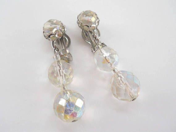 Vintage Crystal Cut Clip On Earrings  Vintage Triple Dangle