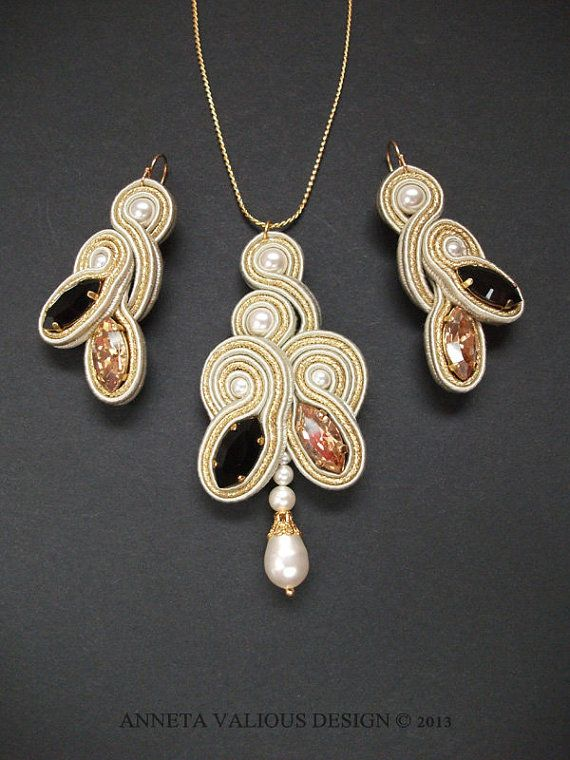 Soutache embroidered earrings and pendant by AnnetaValious on Etsy