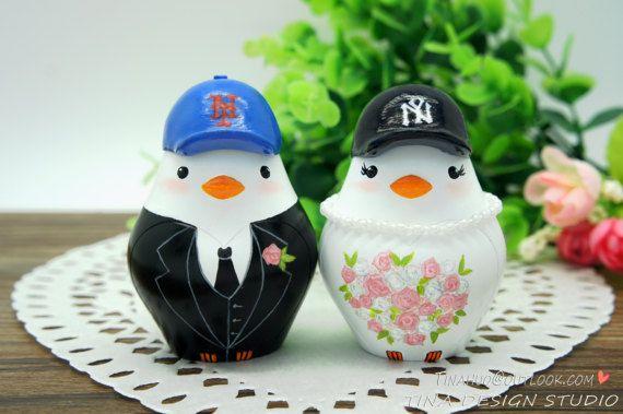 Personalised NY Baseball Wedding Cake by CakeToppersByTina on Etsy